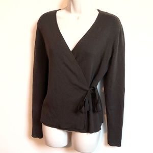 Ann Taylor LOFT cashmere & wool wrap sweater large